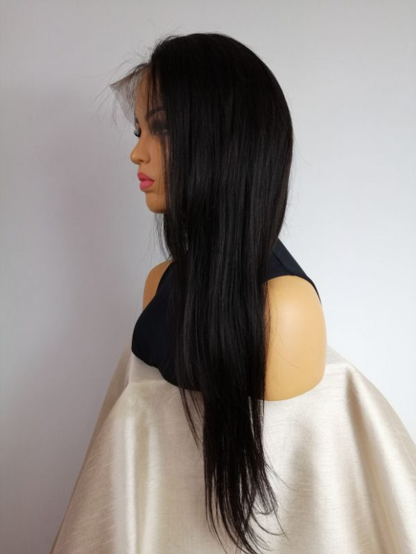 Peruka NATURALNA włosy NATURALNE czarna full lace  – na zamówienie